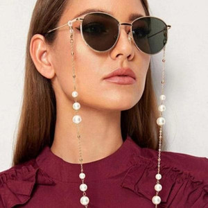 Eyeglasses chain bead white plastic pearl charm metal chain gold silver color plated silicone loops sunglass accessory