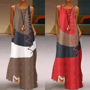 Oversized Womens Summer Sundress Zanzea 2020 Patchwork Maxi Dress Vintage Casual Sleeveless Tank Vestidos Female Cotton Robe