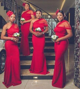 African red Mermaid Prom Dresses one shoulder elastic Satin Plus Size Evening Guest Dress Sweep Train Maid Of Honor Gowns
