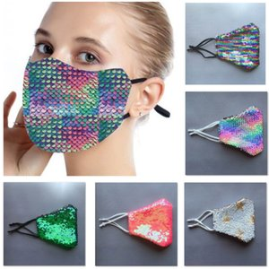 Tasarımcı Maskeler Moda Bling Bling Pullu Koruyucu toz geçirmez Yıkanabilir Windproof Yeniden Yüz Elastik kulak askısı Ağız HH9-3102 Maskesi Maske