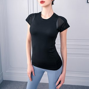 New short sleeved yoga dress quick dry mesh yarn patchwork blazer back breathable fitness clothes plus-size woman
