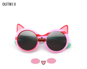 OUTMIX 2020 Unisex Small Sussins Women Retro Red Cateye Sins Metal Frame Round Sun Looks for Baby UV400