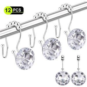 Shower Curtain Hooks 12 Pcs Duplo Glide cortina do chuveiro anéis de aço inoxidável Rustproof gancho Anel com acrílico cristal Pedrinhas DHD205