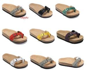 Boken hotsell cuero auténtico zapatillas sandalias planas de las mujeres zapatos para hombre hebilla de un diseñador de moda unisex de playa del verano de calidad superior con