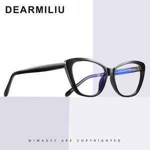 DEARMILIU 2020 новых женщин Blue Light Blocking очки Классический Cat Eye Flat Mirror Computer Reading Eyeglasses óculos Feminino