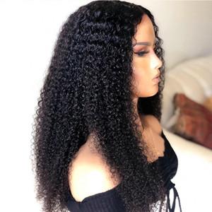 13x6 Deep Part AFRO Cinky Кудрявые человеческие волосы шнурки передних париков с детскими волосами Pretucked бразильские парики для волос для чернокожих женщин