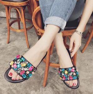 Koovan Women Slipper 2019 New Word Slipper Summer Non-slip Flats Bottom Rhinestone Cool Flat With Students Cool Women Shoes Three Colors
