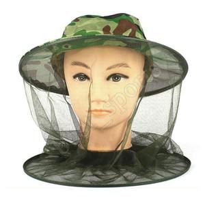 Открытый Камуфляж Cap Защита от солнца Рыбалка Шляпы насекомых Пчелы Mosquito Сопротивление Bug Net Mesh Head Face Hat ZZA410