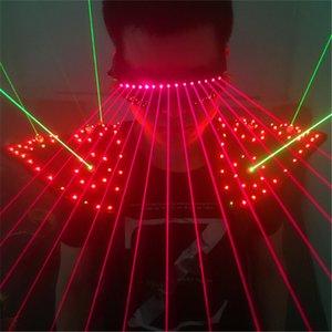 T16-1 colorido luz dança de salão levou traje dj bar laser usa óculos de laser vermelho luz verde colete partido stage disco adereços