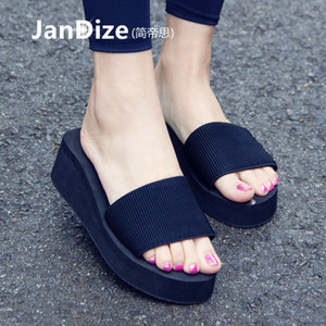 2016 neue koreanische Stil Sandalen für außerhalb des Sommers der Frauen Steigung Sandalen mit Anti-Rutsch ein Wort Sandalen für Strand tragen Kühl
