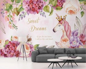 Pink Flower Unicorn Photo Wallpaper 3D Wall Mural for Living Room Contact Paper Wall Papers Roll Murals papel de parede