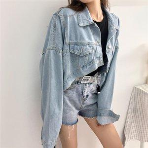 Mulheres Casual Denim Casacos Streetwear Jeans Vintage Brasão Casual assimétrica Jaqueta Curta Curto Feminino Outwear Cowboy