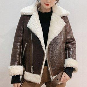 Genuiner Leathe Primavera 2020 new mulheres de pele de cordeiro lã motocicleta versão coreana de ovelhas fina corte casaco quente