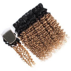 Dark Roots 1b 27 Brown Blonde Hair Bundles With Lace Closure Deep Curly Virgin Malaysian Hair Extensions 3 Bundle Deals