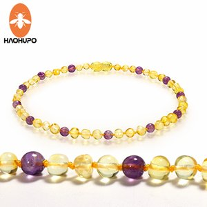 HAOHUPO Amber Teething Necklace Knotted Mix Round Natural Gemstone Beads Polished Natural Baltic Amber Jewelry for Baby Women