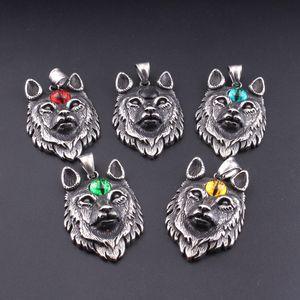 Vintage Silber Wolf Edelstahl Hundekopf Tier Männer Punk Anhänger Halskette