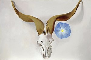 Georgia O'Keeffe Ram Head Blau Morning Glory Hauptdekor handgemaltes HD-Druck Ölgemälde auf Leinwand-Wand-Kunst Bilder 191114