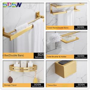Barhroom Hardware Set SDSN cepillado de oro juegos de baño de calidad de hardware de aluminio del espacio de baño de toallas de papel titular Oro