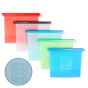 1000ml silicone Fresh Food Bag Cucina congelamento Riscaldamento sigillatore di vuoto Sacchetti a chiusura lampo del sacchetto di immagazzinaggio contenitore per Frigo Forno a microonde 50pcs