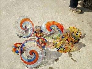 Beautiful Hot Sale Handmade Blown Glass Art Flower Plates Flower Wall Art CE UL Certificate Decoration