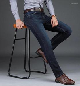 Pantalones Jean recta dril de algodón azul elástico de la cintura Moda Hombres de lujo para hombre de negocios Jeans