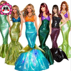 Os trajes de Halloween, adultos vestidos sereia princesa, lantejoulas, jogo do papel, seios sensuais, vestidos de noite.