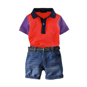 Ins casual boys suits Summer kids outfits short sleeve T shirt+Jeans Shorts 2pcs kids designer clothes boys clothing kids clothes B1263