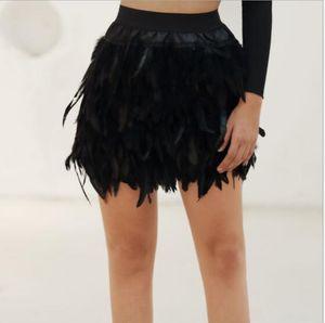 2020 Verão New Black Feather Mulheres Mini Saia Moda Sexy Saia elegante para Evening Partido Evento plumage plume Saias