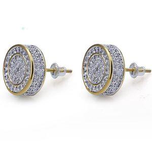 925 Sterling Silber Iced aus CZ Premium Diamant Cluster Zirkonia Runde Schraube Zurück Ohrstecker für Männer Hip Hop Schmuck