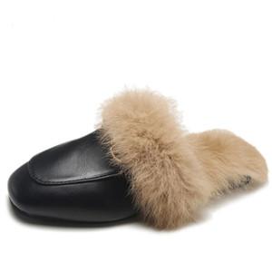 100% nouvelle marque de fourrure Pantoufles Chaussures femme Mules femmes Furry pantoufles hiver chaud Chaussures Femme Mode Chaussons Lapin cheveux