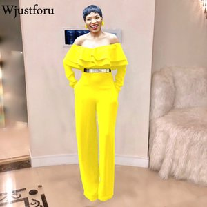 wholesale Strapless Sexy Ruffle Jumpsuit For Women Off Shoulder Fashion Wide Leg Jumpsuit Female Bandage Casual Bodysuit Elegant