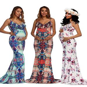 Fiore di stampa di maternità bretelle Abito donna incinta senza maniche Gonna 2020 estate veste gli abiti di gravidanza per Servizio fotografico