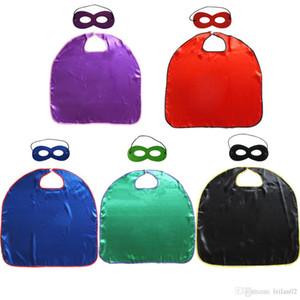 5 цветов дешевые равнина супергерой мыс + маска для детей супергерой костюмы один слой с покрытием края Хэллоуин рождественские костюмы