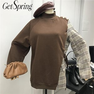 GetSpring Mulheres Hoodie Cotton Womens Moletons Pullove Turtleneck manga comprida manta de retalhos Irregular Womens Hoodies Outono