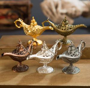 Классический Rare Hollow Легенда Aladdin Магия Genie Лампы благовоний Ретро Желающих масляная лампа Home Decor подарков SN753