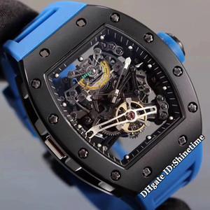높은 버전의 새로운 RM38-01 파워 리저브 해골 다이얼 일본 미요 자동 RM 38-01 남성 시계 블랙 스틸 케이스 고무 스트랩 스포츠 시계