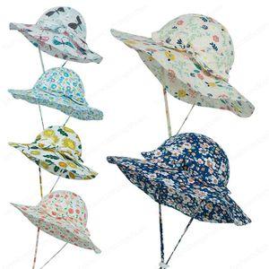 Ins Baby Kids Sun Hat Helmet Bow Flower Printed Sunhats Children Fashion Topee Lovely Boy Girl Bucket Wide Brim Hat