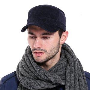 Grandpa father Winter keep warm velvet flat top army cap big bone man outdoors casual hat plus size military caps 55-62cm