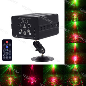 Laserbeleuchtung 7 Loch 120 Muster Projektor Remote / Sound Controller Disco DJ Equipment Party Bühnenlicht Hochzeit Weihnachtslampe Dekoration DHL
