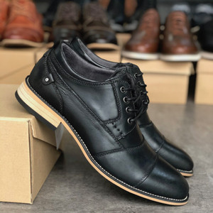 zapatos de piel de becerro de cuero para hombre Oxfords Zapato grueso de zapatos de lujo de zapatos de vestir de negocios ante dentro de inferior cómodo Tamaño grande 39-47