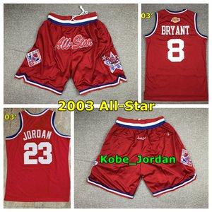 Vintage 2003 Red All-Star Stitched Basketball Jersey LakersKobeBryant 23 Michael JD 3 Allen Iverson All-Star Basketball Shorts