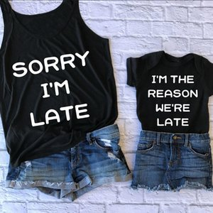Frühling neue beiläufige Sorry, ich bin spät T-Shirt Mode Frauen Kinder passende Shirt Familie Kleidung Tops