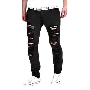 Hommes Stretchy Ripped Skinny Jeans Denim Biker Destroyed Slim Fit étanchées Pantalon droit taille mi Zipper pantalon Hommes