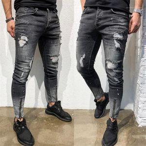 Lápiz Pantalones Hombre diseñador ocasional de los pantalones vaqueros para hombre de los vaqueros del agujero de la pendiente Slim Fit Fuerza Elástica Cremallera