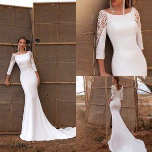 2020 Arivilloso Wedding Dresses Scoop Neck Long Sleeves Appliques Satin Beach Bridal Gowns Backless Sweep Train Mermaid Wedding Dress