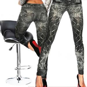 Nova Magro Falso Imitação de Jeans Leggings de Fitness Mulheres Denim Leggings Heigh Qualidade Tatuagem Pintado Leggings Preto Tamanho Único
