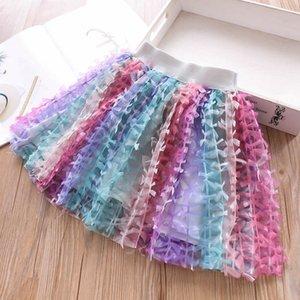 Детская дизайнерская одежда Юбки для девочек 2019 new Summer rainbow Kids Юбки балетной пачки юбка для детей Юбка для девочек одевает одежду для девочек детская одежда A3764