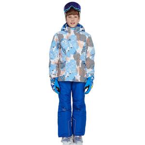 Ropa de invierno para niños Traje de esquí para niños Chaquetas de esquí a prueba de viento a prueba de viento Pantalones Adolescentes Ropa para niños Capucha caliente al aire libre Traje deportivo para niños