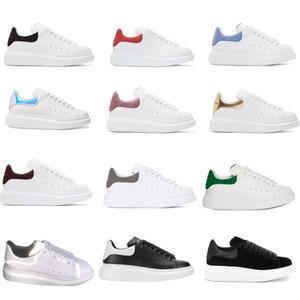 Mens Womens formadores reflexiva 3M couro branco Plataforma Sneakers Womens Mens plana Casual sapatos de casamento Partido Suede Sports Sapatilhas