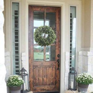 Guirnalda de hojas verdes artificiales - Guirnalda de puerta delantera de 17.5 pulgadas Guirnalda de boj de hierba para pared Ventana Decoración de Navidad